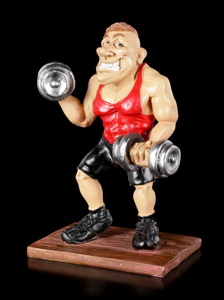 Funny Sports Figurine - Bodybuilder lifts Dumb Bells