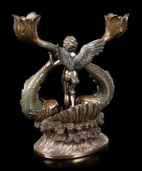 Kerzenhalter - Engel mit Fischen
