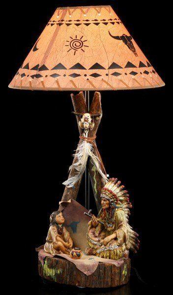 Indianer Lampe - Häuptling mit Kind