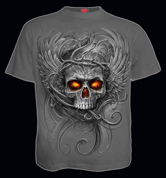 Spiral Gothic Totenkopf T-Shirt grau - Roots of Hell