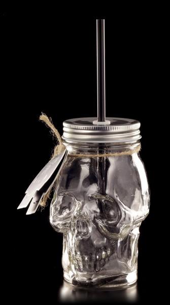 Totenkopf Glas mit Deckel und Strohhalm