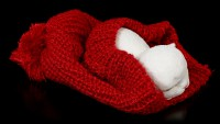 Cat Figurine asleep in red bobble Cap