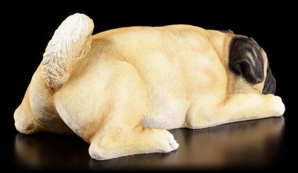 Gartenfigur Hund - Liegender Mops