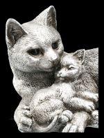 Katzen Figur mit Baby - Antik Silber