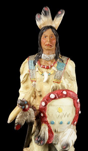 Indian Figurine - With Tomahawk and Shield