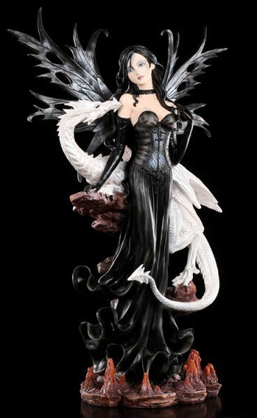 Large Dark Fairy Elain with white Dragon