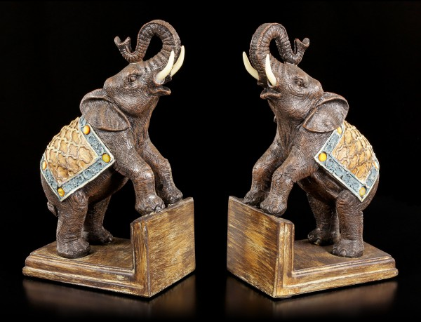 Bookends Set - Decorated Elephants