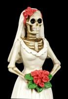 Skelett Figur - Braut mit roten Rosen