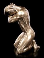 Männliche Akt Figur - Kniend mit Händen am Kopf