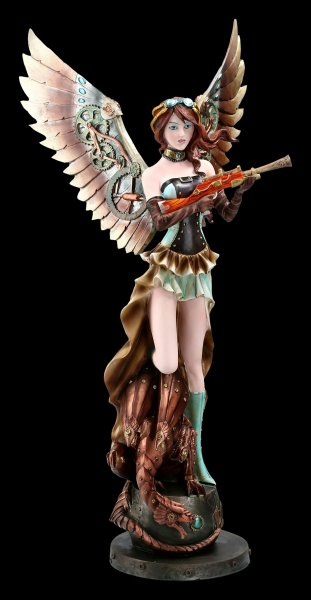 Steampunk Angel Figurine - Amelie with Gun - large