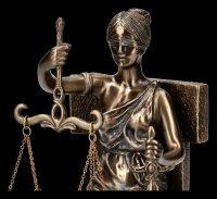 Sitzende Justitia Figur auf Thron - bronziert