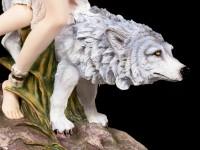 Fairy Warrior Figurine - Mya Ana with Wolf on the Hunt