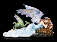Elfen Figur - Shila mit grünem Drachen
