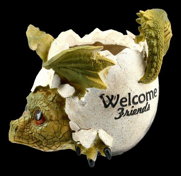 Drachen Blumentopf - Welcome Friends