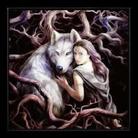 Kleines Hochglanz Bild mit Wolf - Soul Bond