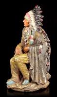 Indianer Figur - Häuptling sitzend mit Friedenspfeife