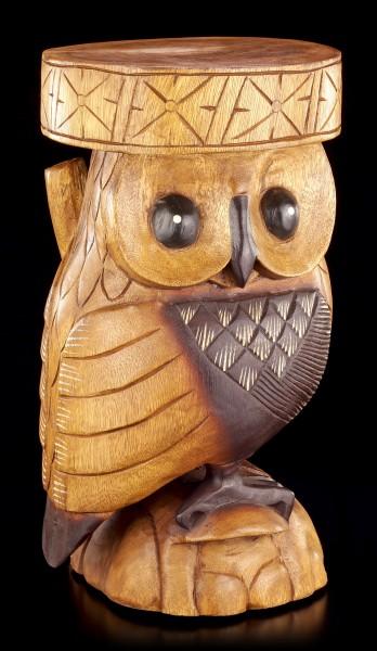 Eulen Hocker / Beistelltisch aus Holz