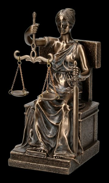 Sitting Justice Figurine on Throne - bronzed