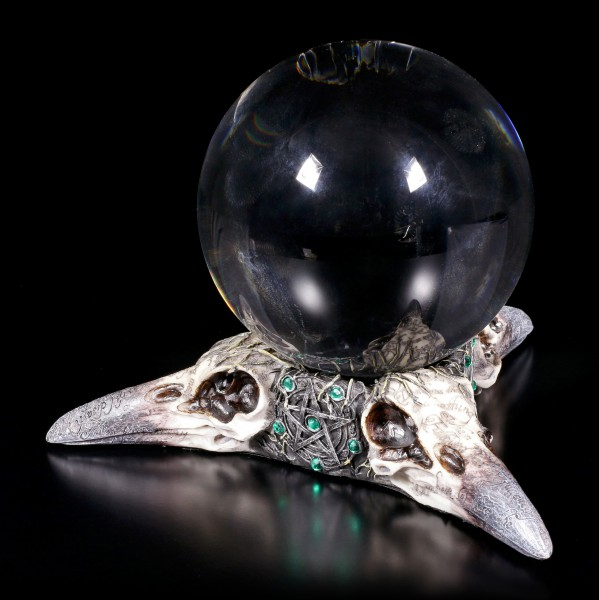 Tealight - Crystal Ball Holder - Trio of Ravens