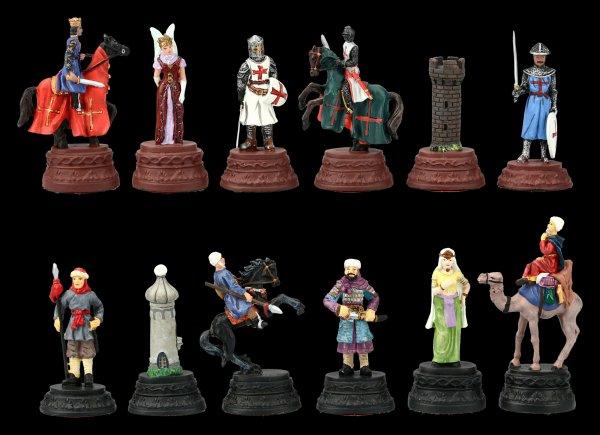 Pewter Chessmen Set - Crusader vs. Saracens