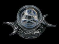 Wahrsagerkugel mit Pentagramm und Halterung