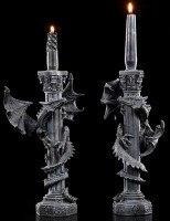 Kerzenhalter - Drachen schlängeln sich um Säule - 2er Set