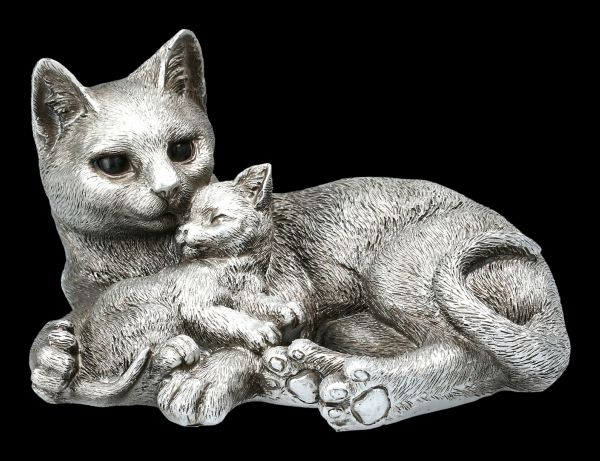 Cat & Kitten Entwined - Antique Silver