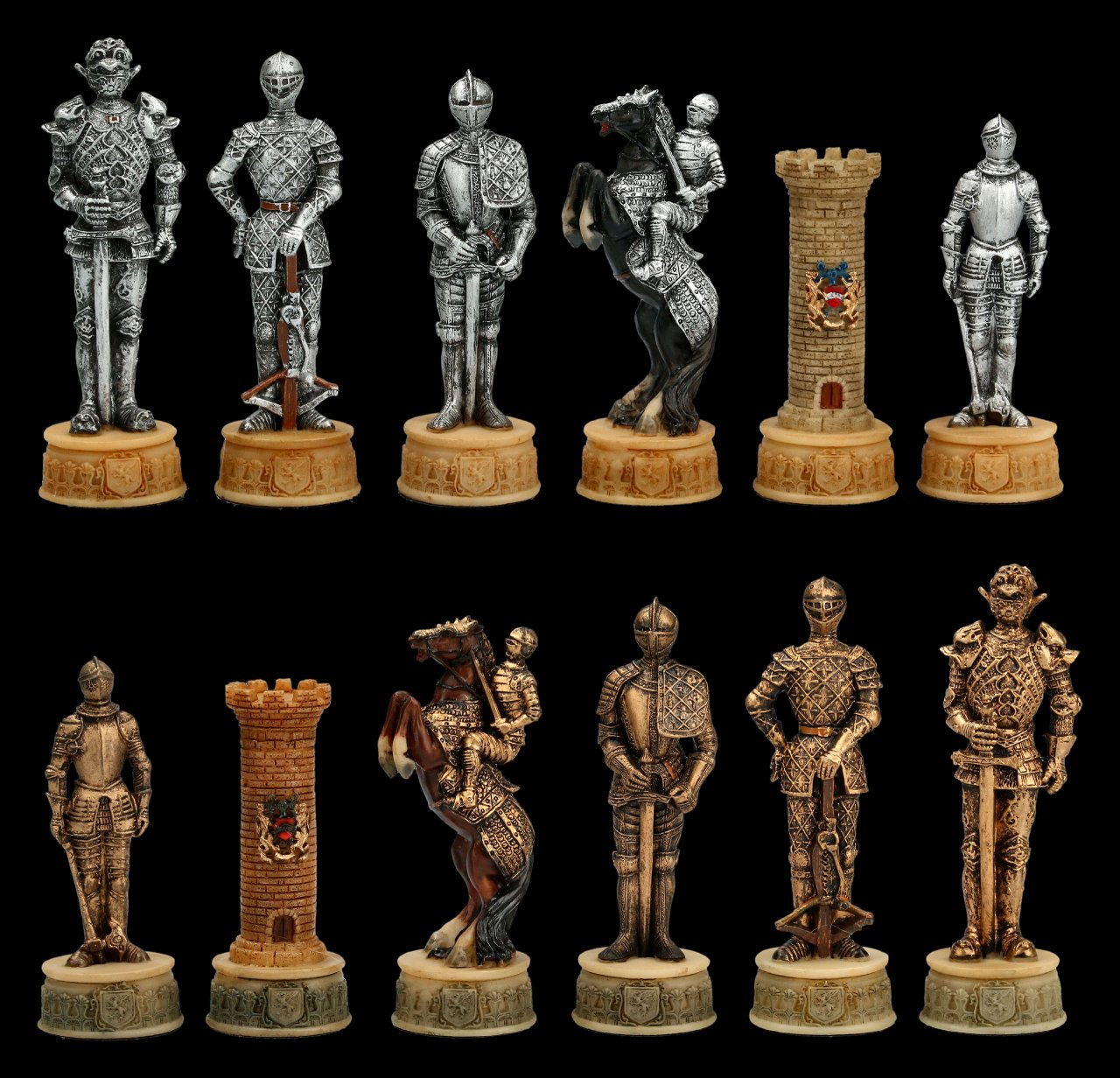 Schachfiguren Set - Mittelalter Ritter