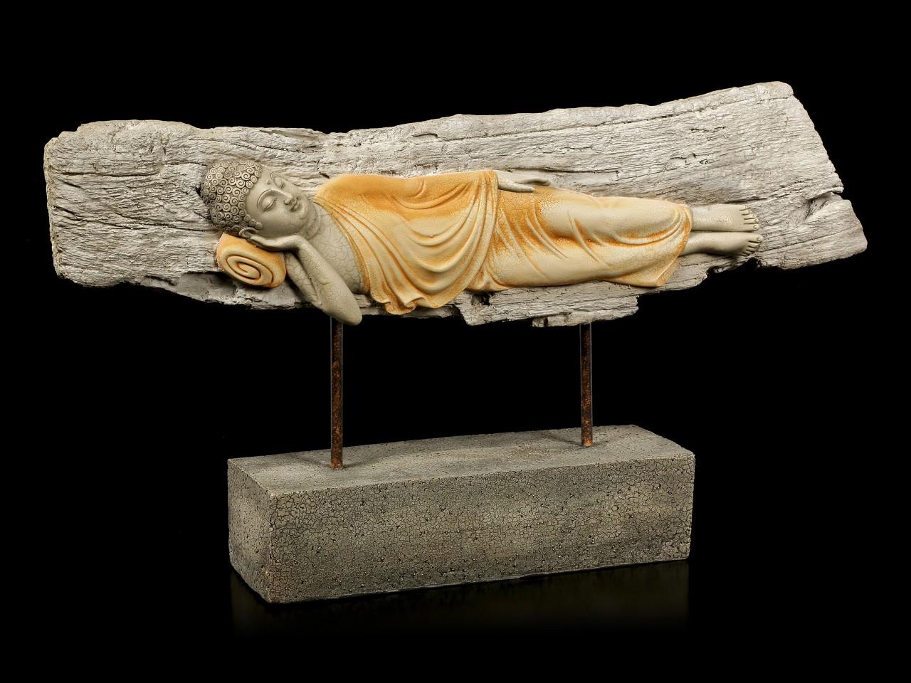 Buddha Figurine large - Sleeping Wooden Look