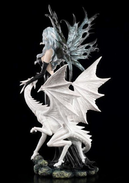 Large Fairy Statue Nathaira with white Dragon