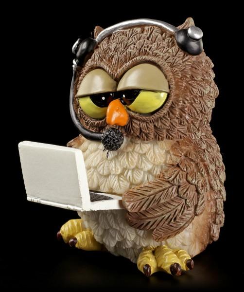 "Lustige Eulen Figur - ""Skype"" mit Laptop"