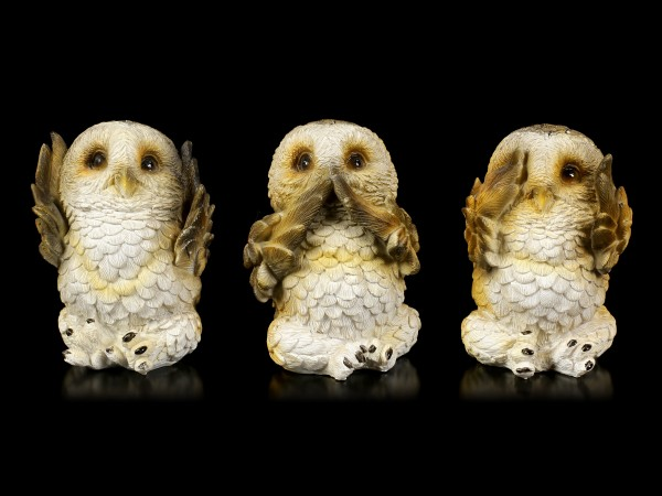 Three wise Owl Figurines - No Evil