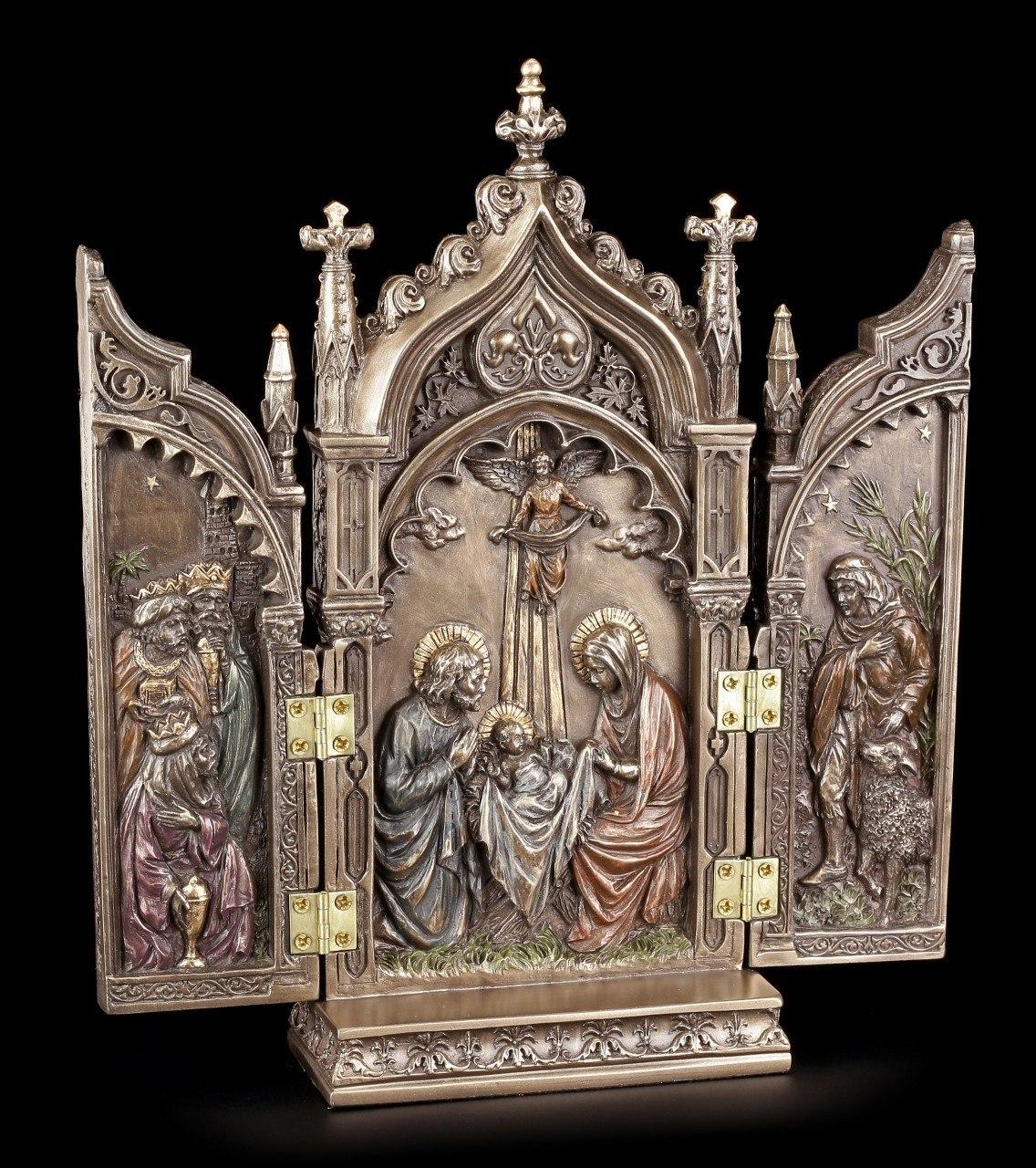 Triptychon Flügelaltar - Geburt Jesus - bronziert