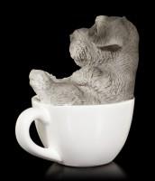 Hunde Figur mini - Schnauzer Welpe in Tasse