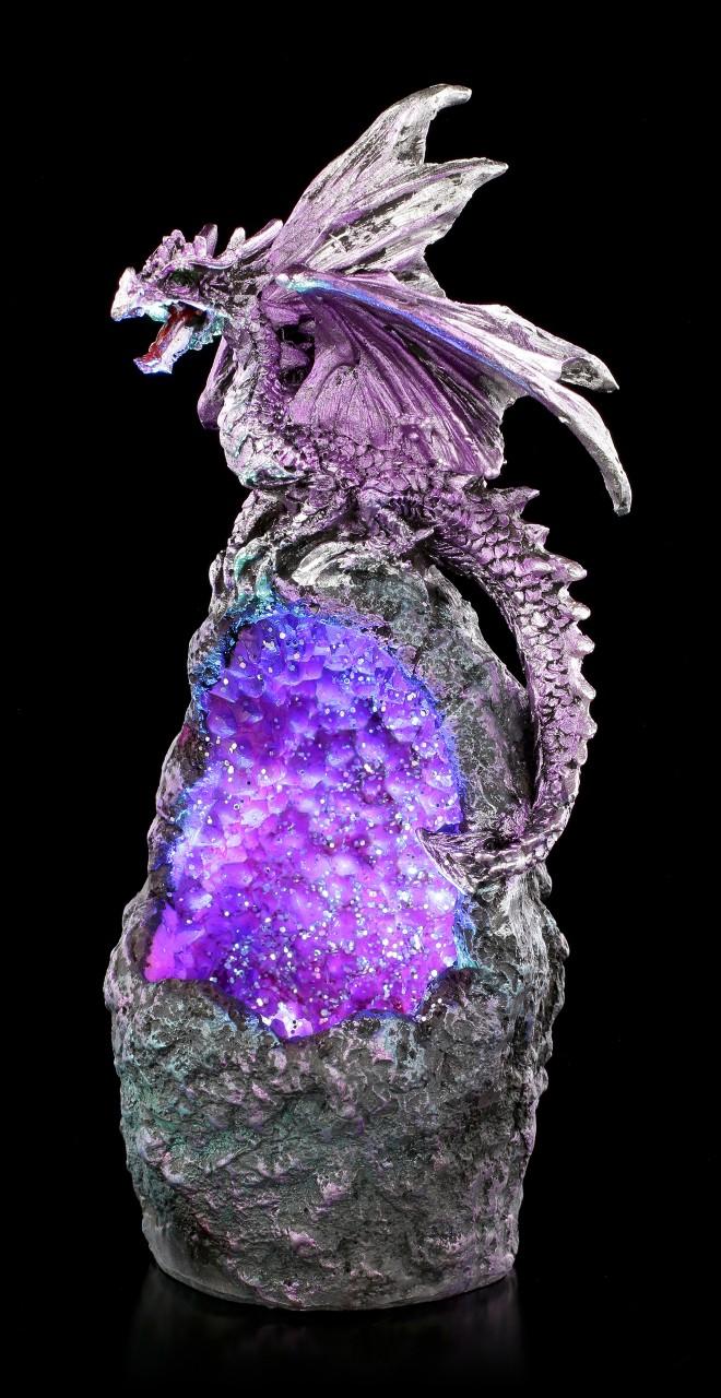 Drachen Figur mit LED - Amethyst Crystal Guard