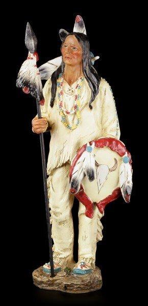 Indianer Figur - Stehend mit Speer und Schild
