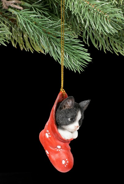 Christmas Tree Decoration - Cat Baby in Stocking