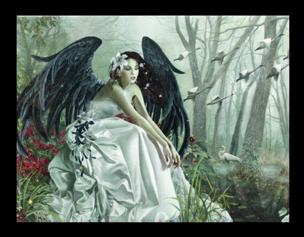 Kleine Leinwand mit Engel - Swan Song