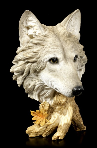 Large Wolf Head Bust - Autumn Time