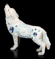 Wolf Spirit Figur - Indianer türkis mit Schmucksteinen