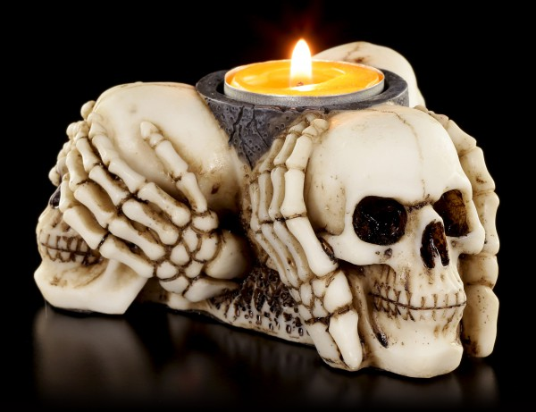 Tealight Holder - Three Wise Skulls