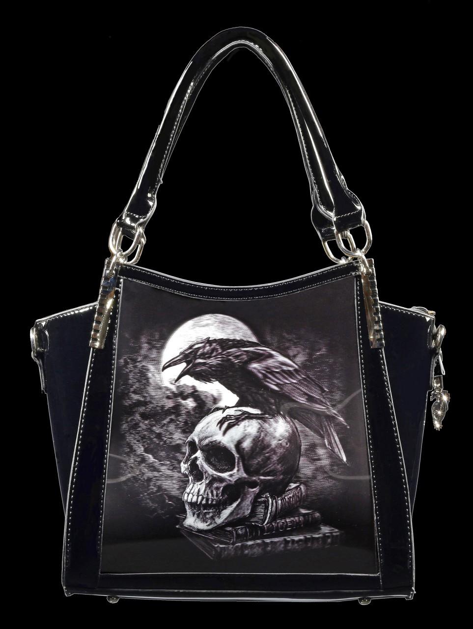 Lack Handtasche mit 3D Motiv - Poes Raven