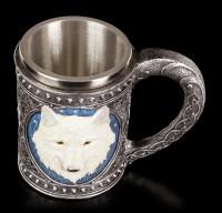 Fantasy Tankard - Lone Wolf white - large