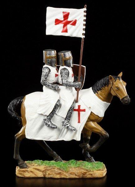 Knight Templar Figurine - Two Knights on Horse