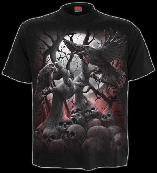 T-Shirt mit Krähen und Totenköpfen - Dark Roots