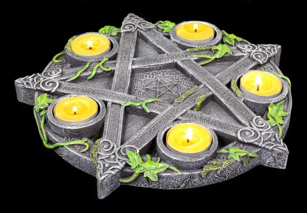 Teelichthalter - Wicca Pentagramm