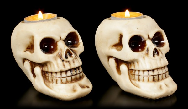 Totenkopf Teelichthalter - 2er Set