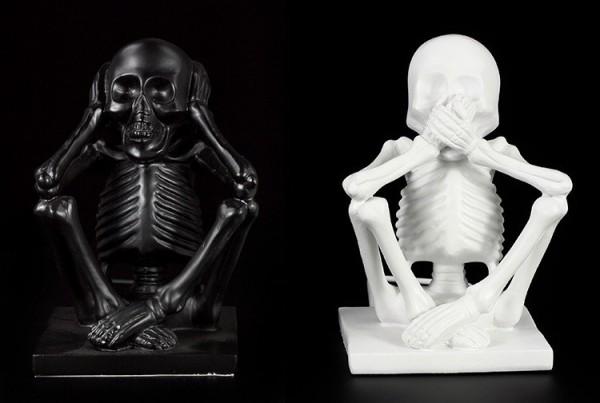 Buchstützen - Skelett - Black & White