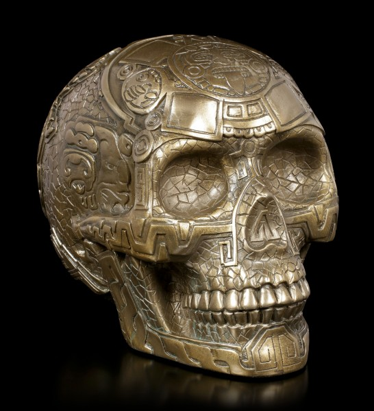 Totenkopf - Azteken Schädel - bronziert
