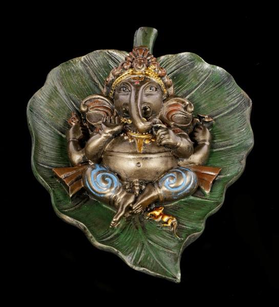 Ganesh Figurine on Peepal Leaf - bronzed